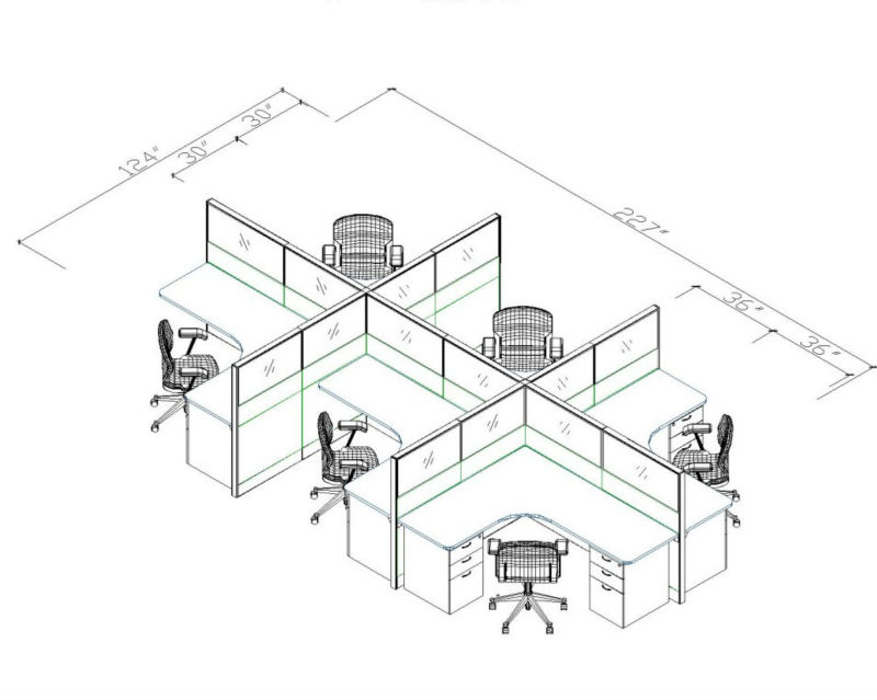 65mm Thickness Office Partition,Classical Office Layout