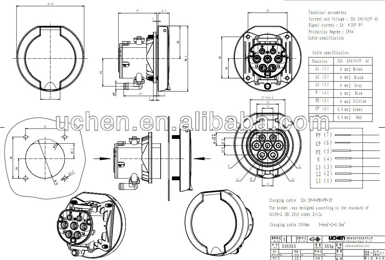 Iec62196 7-pin Socket /62196-2 16a Female Socket/inlet