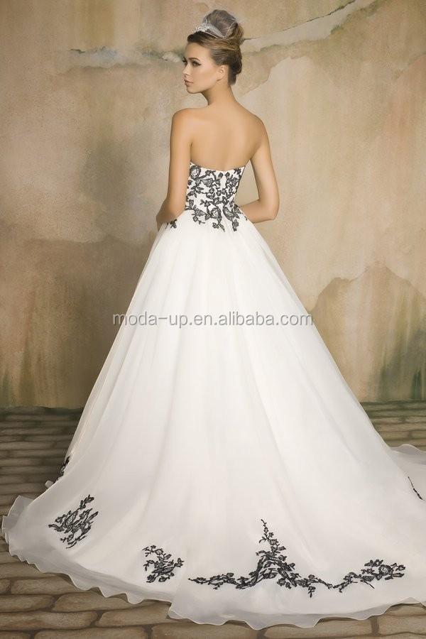 Weiß Schwarzer Spitze Hochzeit Kleid Brautkleid Aus China