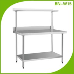 Steel Kitchen Table Restaurant Tables Stainless Work With Under Shelf And Over