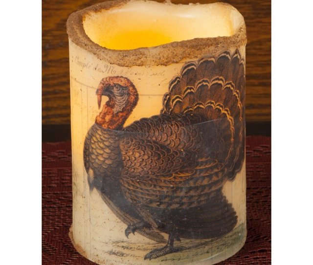 Get Quotations  C B Thanksgiving Candles Flameless Candle Decoration Window Candles Battery Power  Inch Turkey