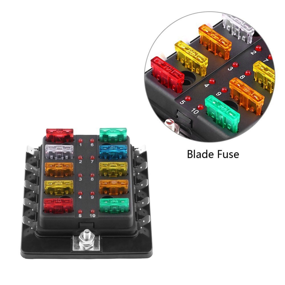 medium resolution of get quotations 10 way blade fuse box with led light keenso blade fuse box holder with led