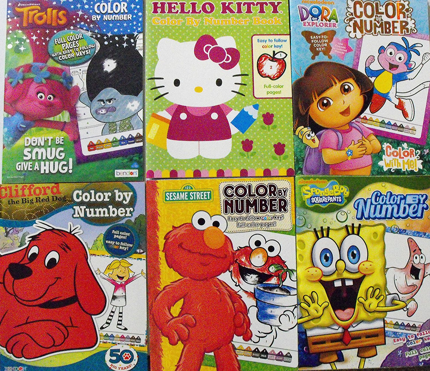 Buy Color By Number 6 Coloring Book Bundle Trolls Hello