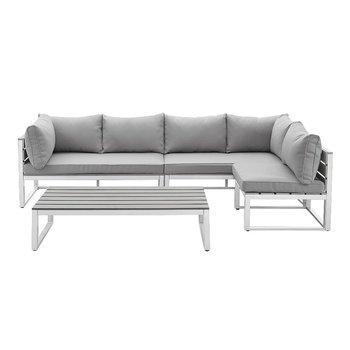steel frame sofa narrow tables black modern style living room stainless 5 seater set