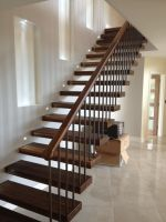 Invisible Wall Side Stringer Stairs Indoor Wood Staircase ...
