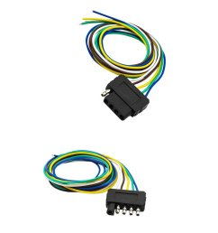 get quotations dovewill 2 pieces car trailer light wiring harness 5 pin plug flat wire connectors  [ 1024 x 1024 Pixel ]