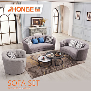 Modern Drawing Room Furniture Gray Couch Sectional Fabric
