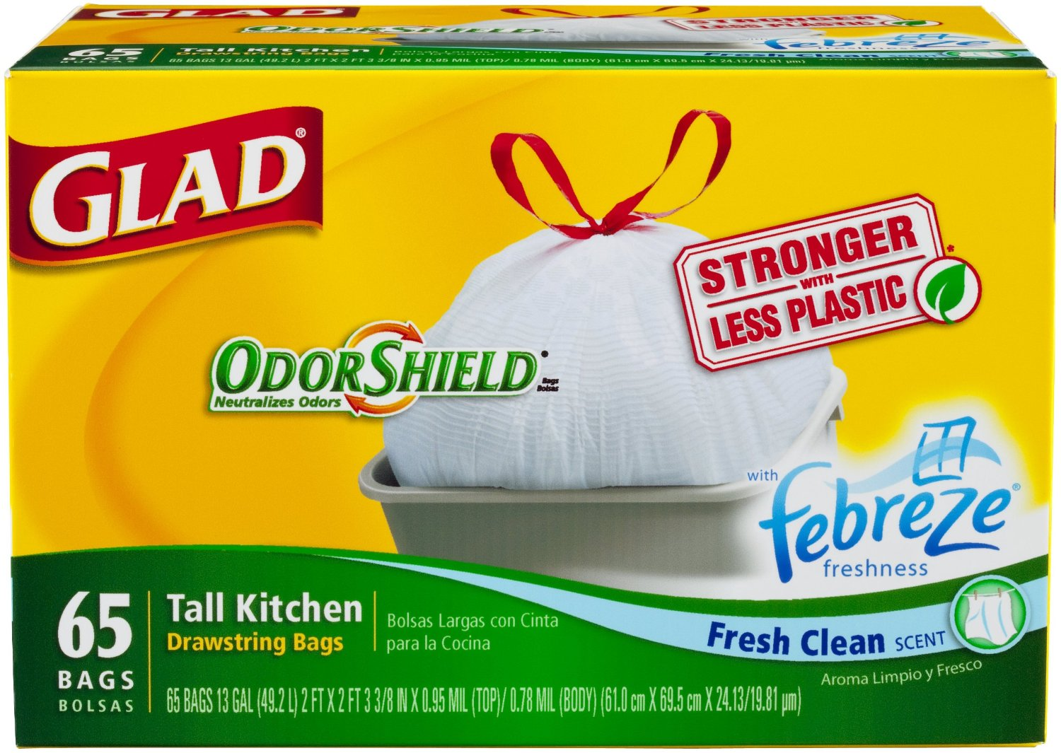 glad tall kitchen drawstring trash bags moveable island buy clean scent odorshield garbage 65 count