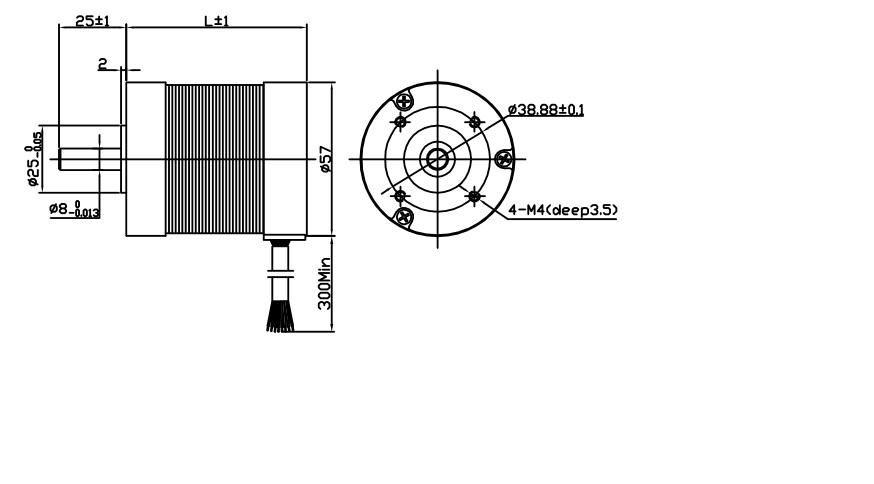 Nema23 57mm Micro Brushless DC Motor 24V / 36V 4000RPM
