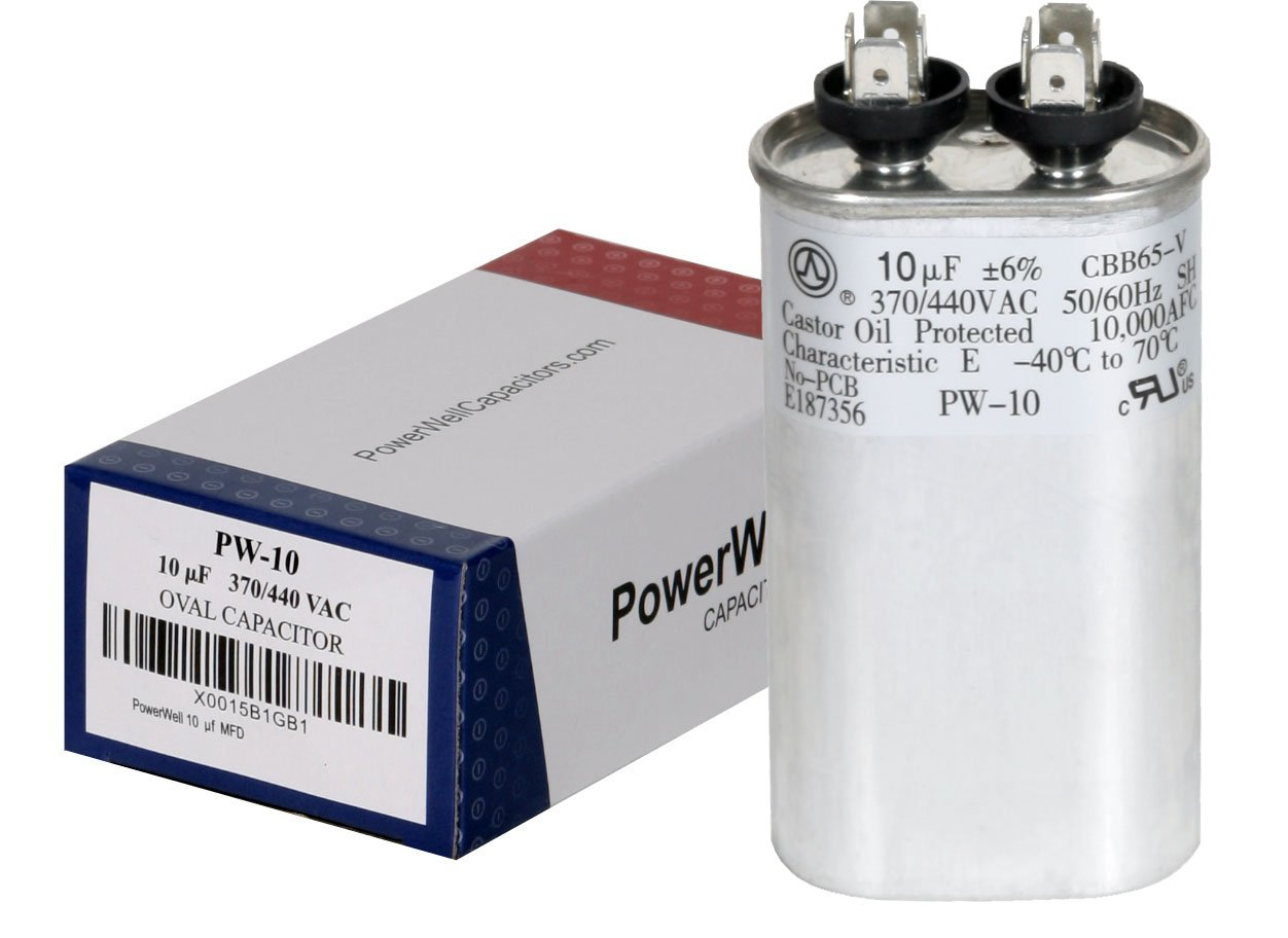 hight resolution of powerwell 10 uf mfd 370 or 440 vac oval run capacitor pw 10 for fan motor blower condenser in air handler straight cool or heat pump air conditioner