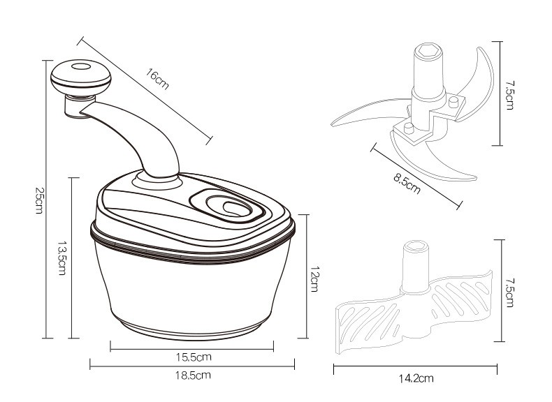 Vegetable And Meat Chopper Manual Food Processor Hand