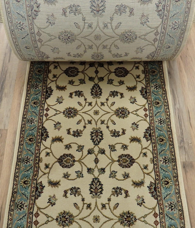 Buy 179487 Rug Depot Valbella Vb 6447 Cream Light Blue   Carpet Runners Sold By The Foot   Wooden Stair   Coastal Carpet   Laminate   Grey   Wedding