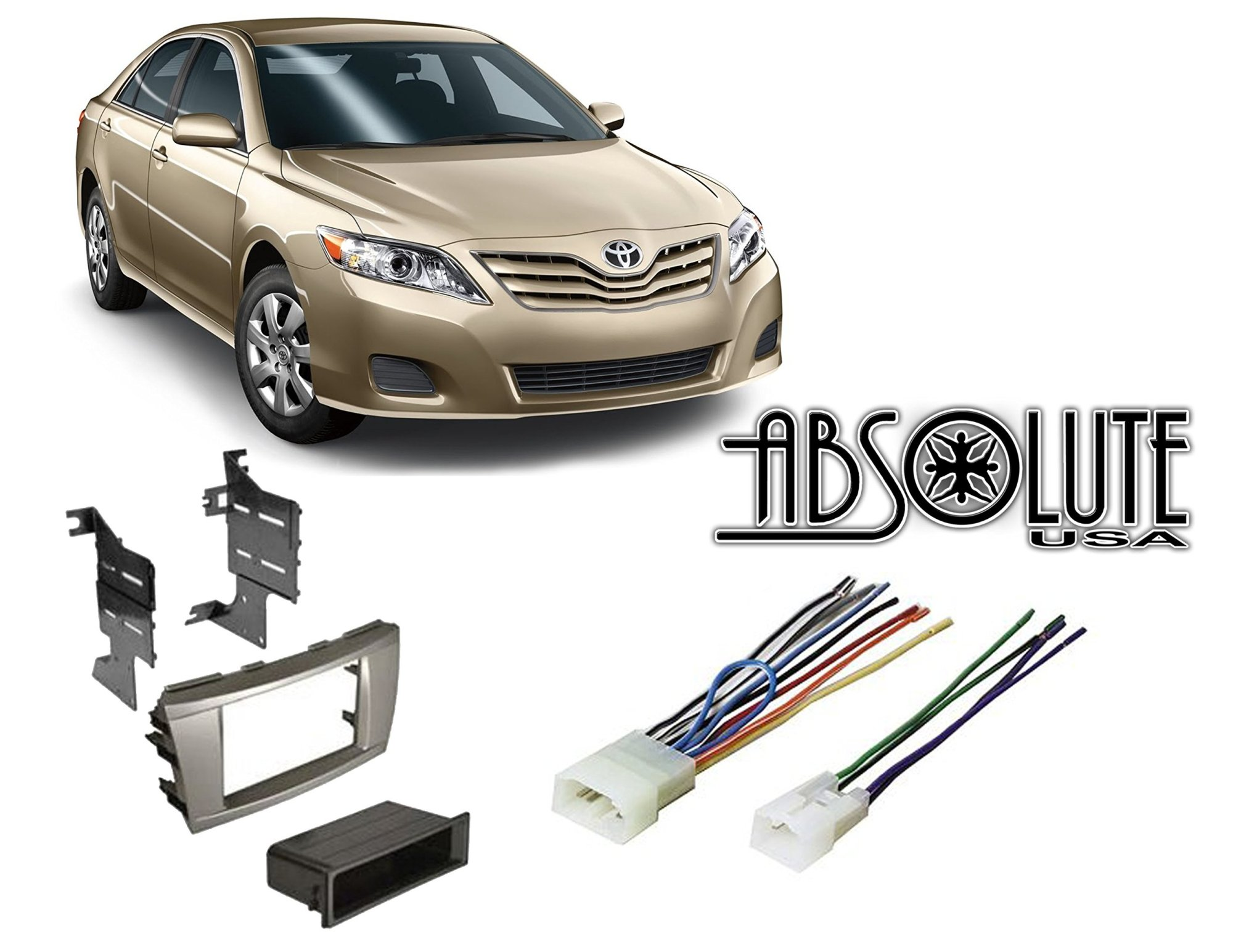 hight resolution of absolute radiokitpkg9 fits toyota camry 2007 2011 double din stereo harness radio install dash kit