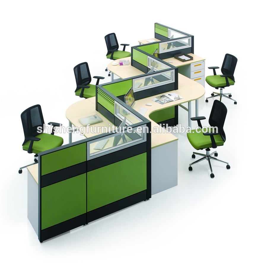 Modular Office Furniture 5 Person Office Desk Cubicle