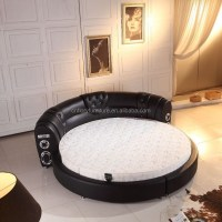 King Bed Frame Leather Round Speaker Bed - Buy Leather ...
