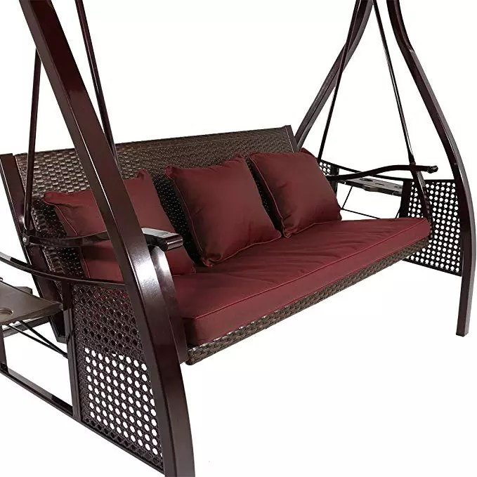 deluxe outdoor patio swing with heavy duty steel frame canopy brown stripe cushions and attached side tables 3 person buy deluxe patio swing outdoor