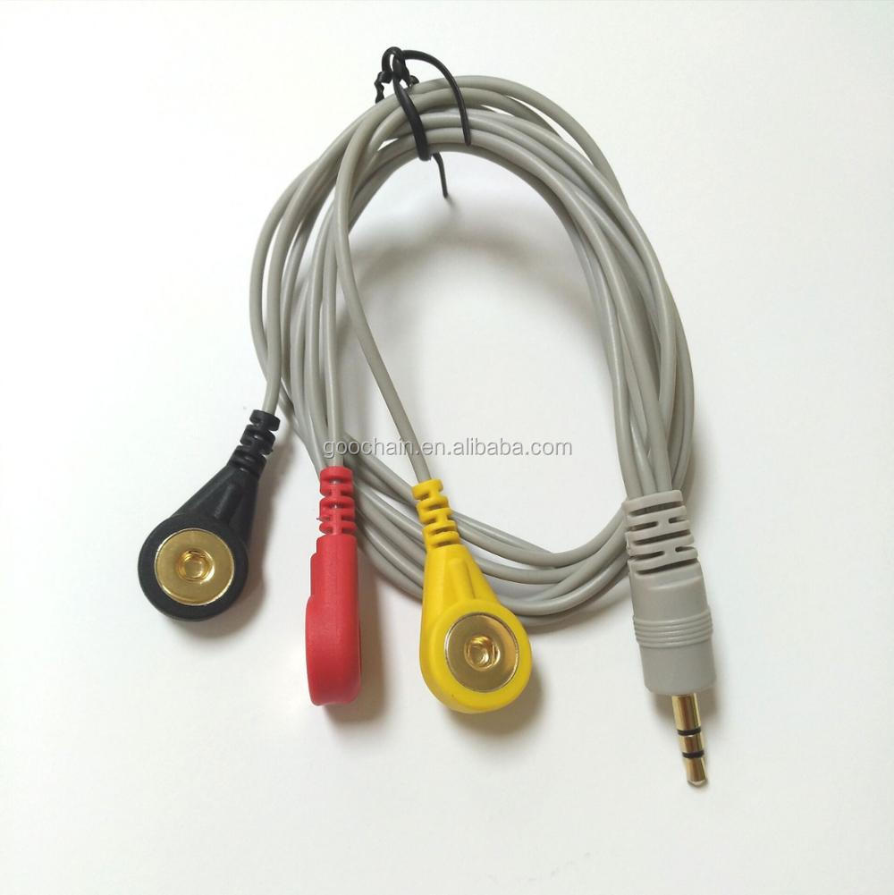 hight resolution of 3 5mm mini stereo jack to medical snap cable for ecg devices