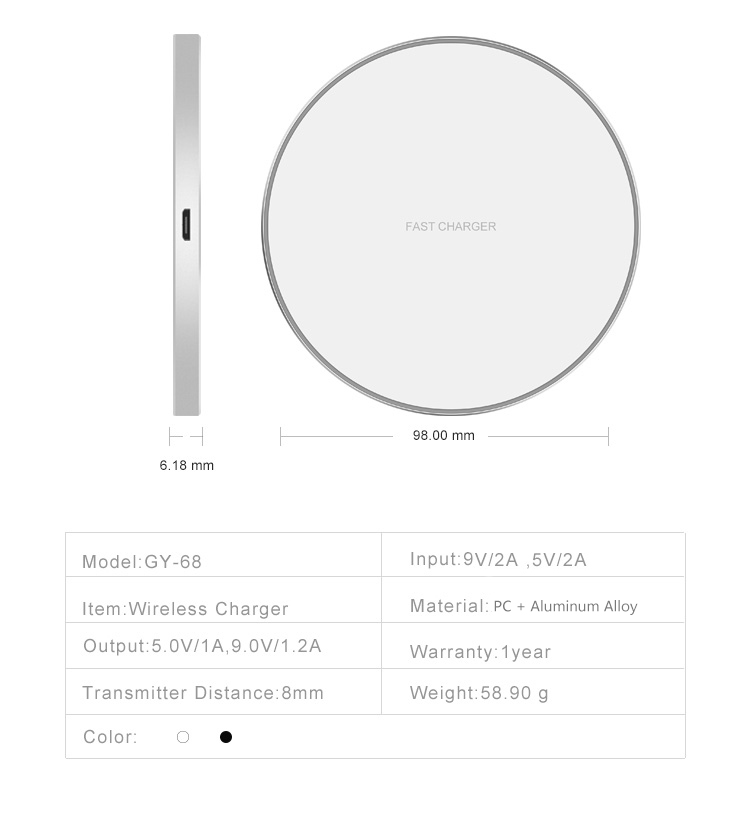 2019 Amazon Hot Sales 10w Slim Fast Wireless Charger Qi
