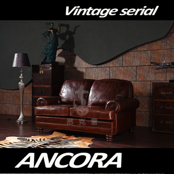 color sofas living room on sale furniture american antique vintage style two seats brown leather sofa