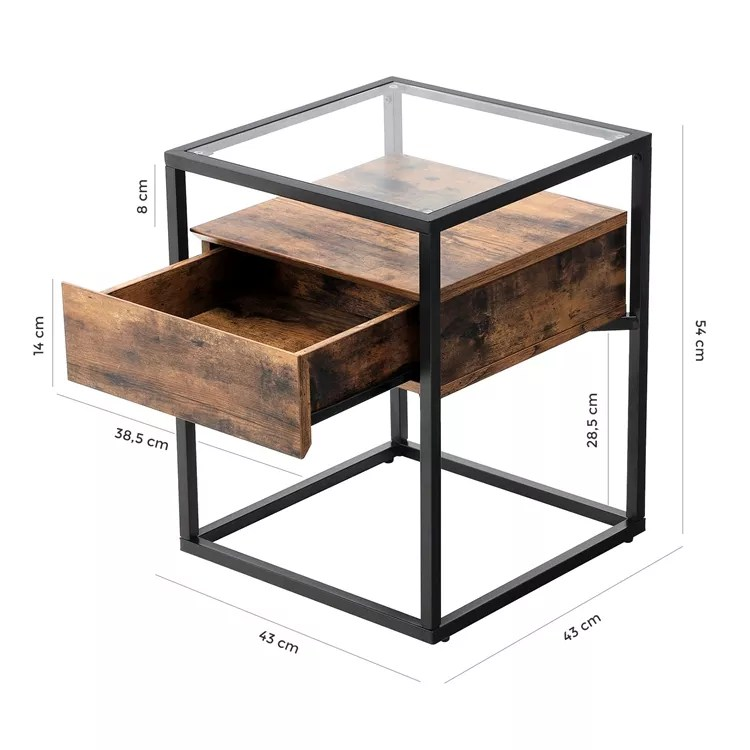 vasagle living room square industrial tempered glass bedside table glass bed sofa side table with storage buy sofa side table with storage end