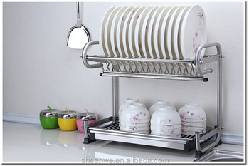 kitchen drying rack touch faucet reviews stainless steel dish 2 tier buy