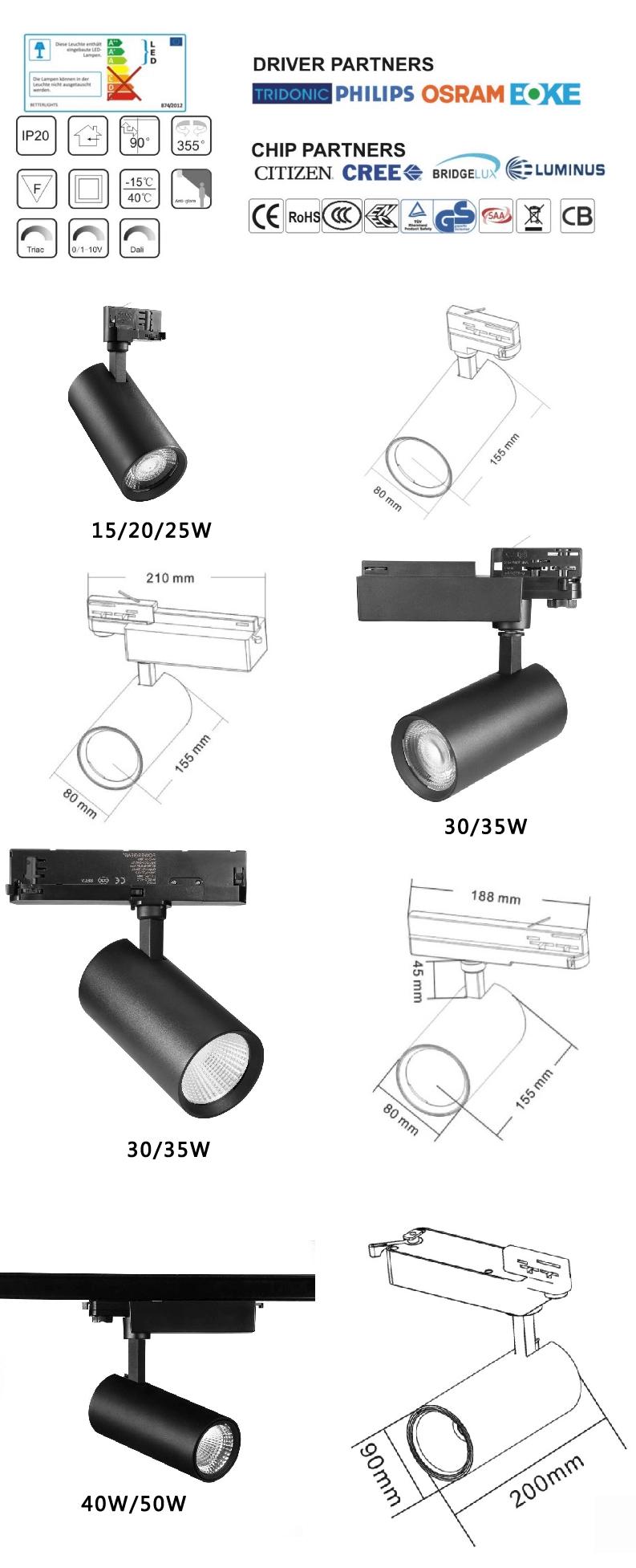 15w 20w High CRI cob led ceiling track spot lighting with