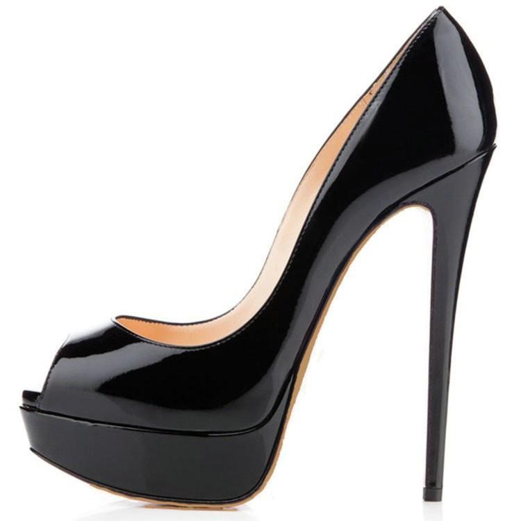 Latest Sexy Peep Toe Platform Pump Tacones De Mujer Black Red Shose Women Heels