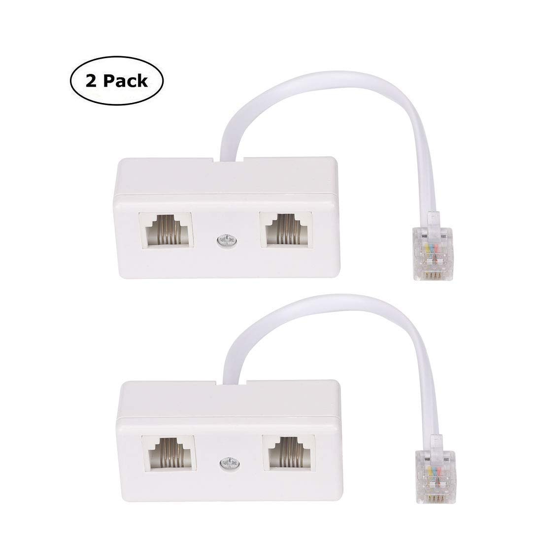 hight resolution of get quotations telephone splitter rj11 6p4c 1 male to 2 female adapter 2 way landline telephone
