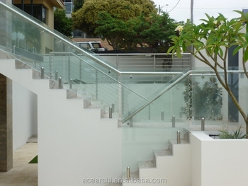 Easy Install Handrails For Outdoor Steps With Tempered Glass Panel | Handrails For Concrete Steps Lowes | Aluminum | Fiberglass | House | Simple | 1 Step