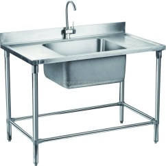 Commercial Kitchen Sink Vinyl Backsplash Double Bowl Hotel Used Free Standing Stainless Steel With Drainboard Gr