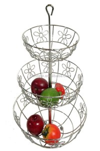 3 Tiers Wire Metal Chrome Fruit Basket - Buy Chrome Fruit ...