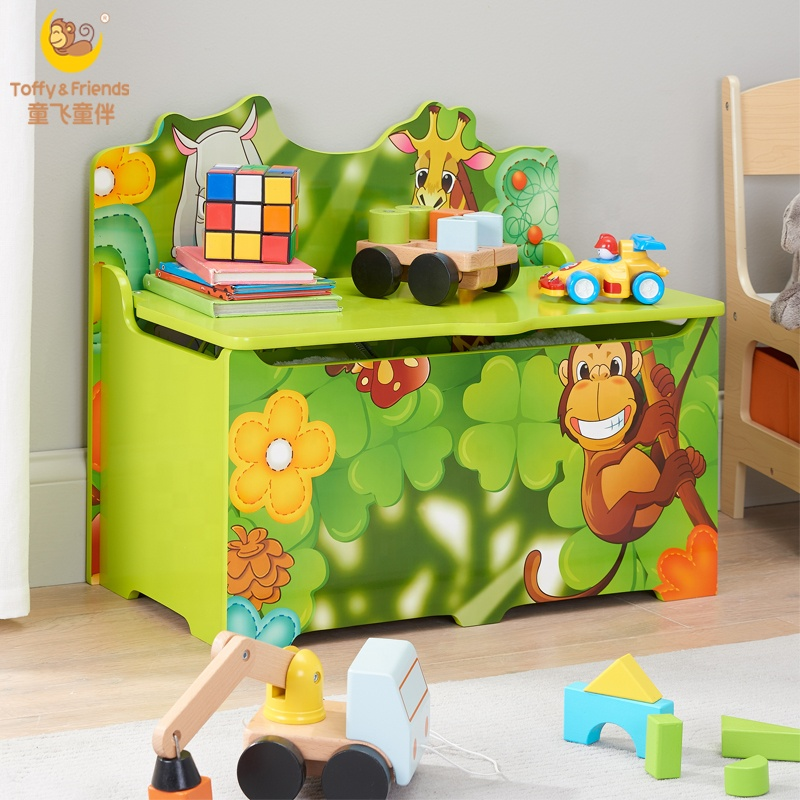 Toffy Friends Kid S Jungle Wooden Storage Toy Box With Lid Green View Wooden Toy Box Toffy Friends Product Details From Fujian Senda Foreign Trade Co Ltd On Alibaba Com