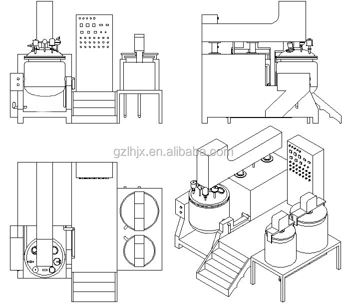 Cosmetic/cream Emulsifier Machine/10 L Vacuum Emulsifiers
