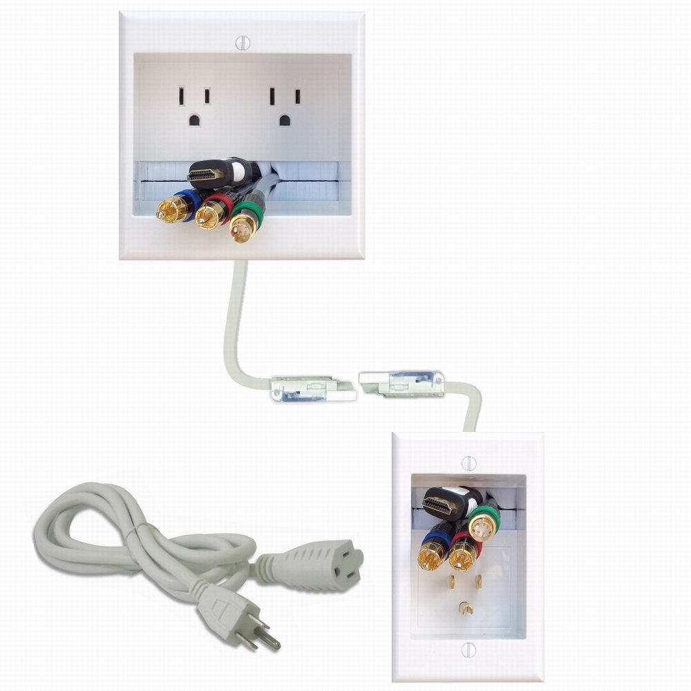 hight resolution of get quotations powerbridge two ck dual outlet recessed in wall cable management system with powerconnect for