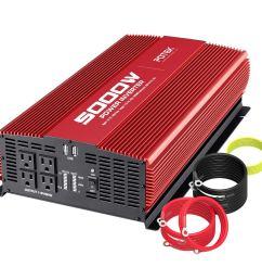 get quotations potek 5000w power inverter dc 12v to ac 110v car inverter 4 ac outlets with 2 [ 1200 x 1200 Pixel ]