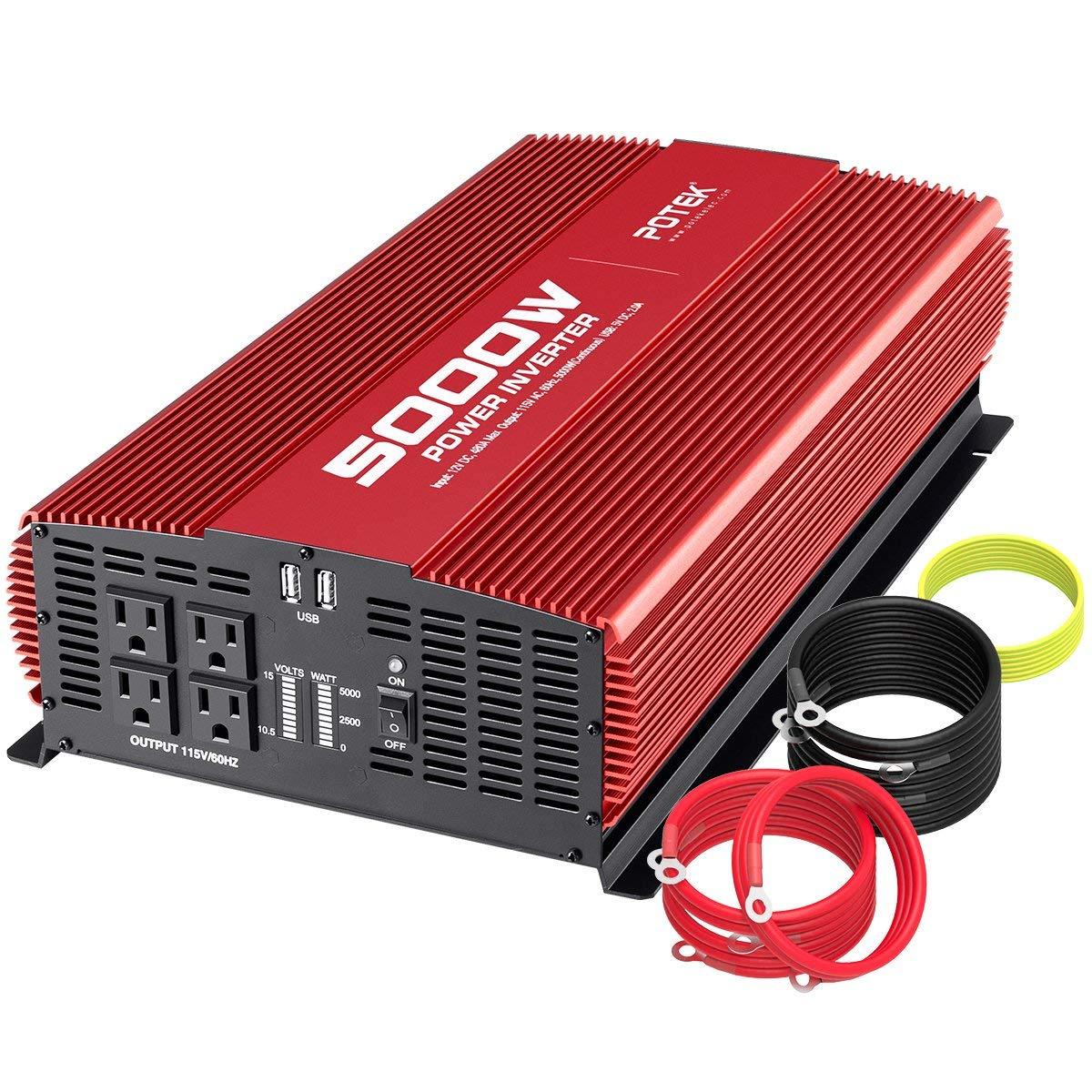 hight resolution of get quotations potek 5000w power inverter dc 12v to ac 110v car inverter 4 ac outlets with 2