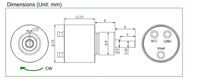 Low Price Mini Hall Angle Potentiometer 4 Wire Hall Effect