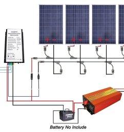 get quotations eco worthy 12v to 110v 900w wind solar power 5pcs 100w poly solar panels [ 1500 x 898 Pixel ]