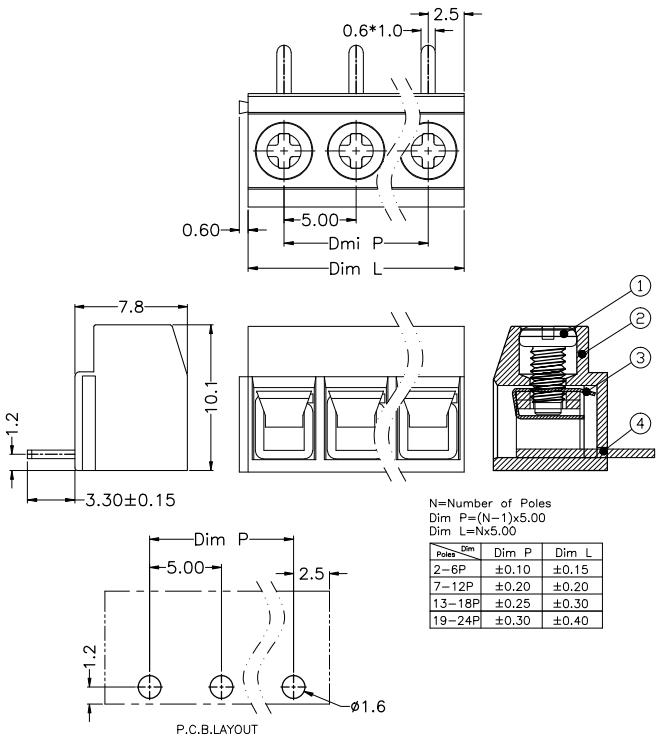 5.00mm Pitch Elastic Brass Green Cross Head Pcb Screw