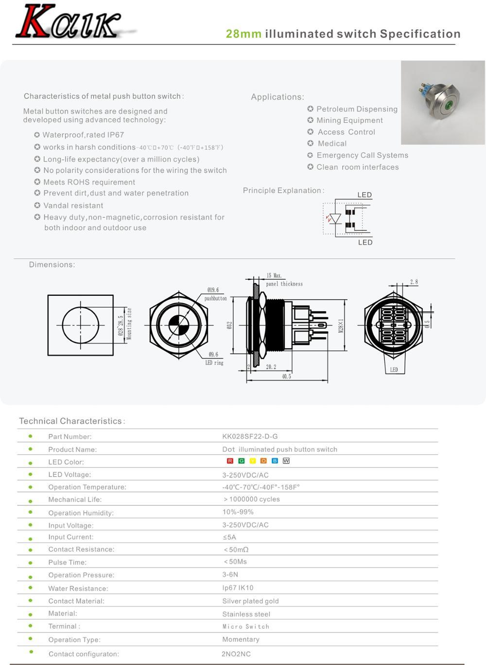 28mm 12v Illuminated Push Button Switch,Momentary,Green