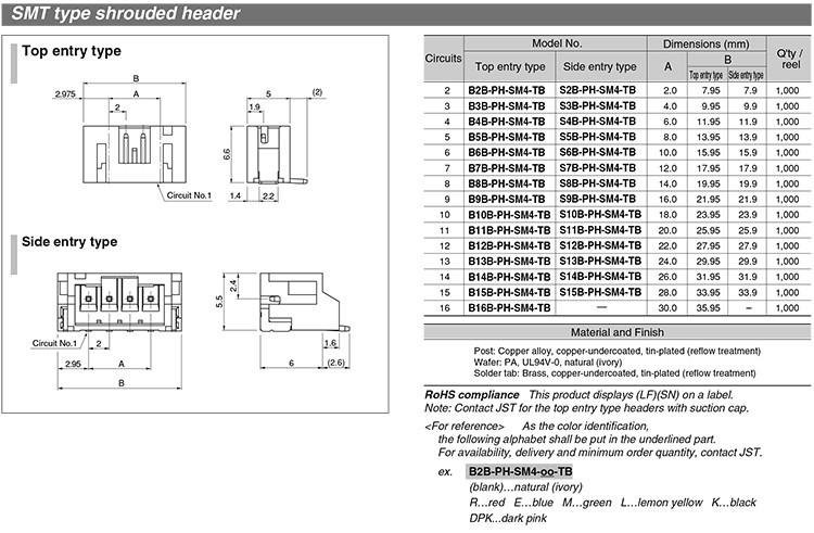 Custom 2.0mm Jst Ph Pitch Header Pin Connector Terminal