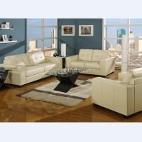 Ivory Bonded Leather Living Room Sofa Set - Buy Sofa Set ...