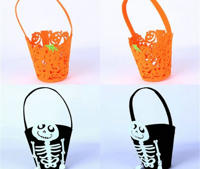 Get Quotations  C B Halloween Trick Or Treat Bags Skull And Pumpkin Candy Box Basket Children Handhold Bucket Halloween Candy