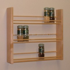 Kitchen Spice Rack White Cupboards Flavoring Powders Bamboo Display Stand On The Wall Storage 3 Tier