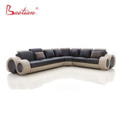 L Shaped Black Leather Sofa Set Sleeper Jacksonville Fl Baotian Furniture New Modern Couch Design