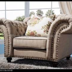 Chesterfield Style Fabric Sofa Single Cushion With Chaise 2018 Funriutre Royal Family High Luxury Living Room European Arm Tufted Button