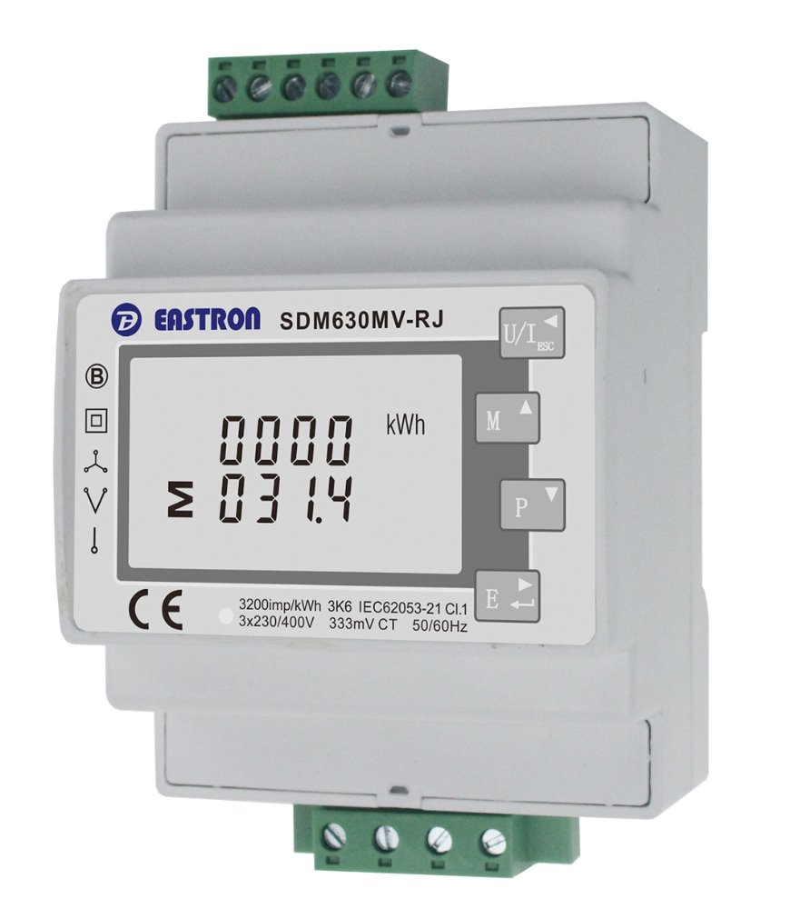 hight resolution of eastron sdm630mv rj 3 phase multifunction energy meter easy wiring with rj12 ct lcd digital meter 100ma 333mv modbus