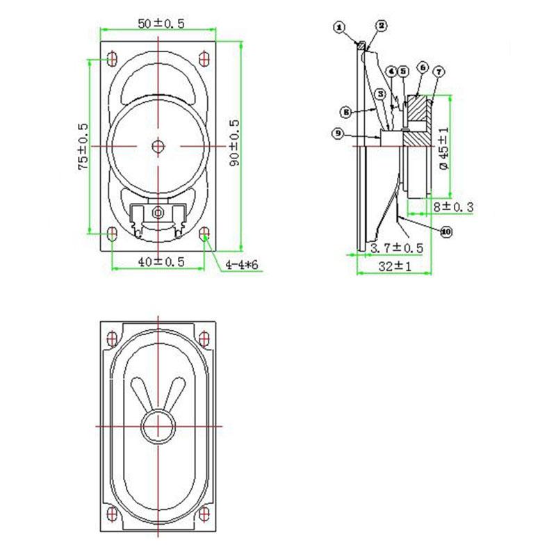 LS5090W-3-R4/90*50mm/4ohm 5 W/lcd TV crt altavoz interno/4