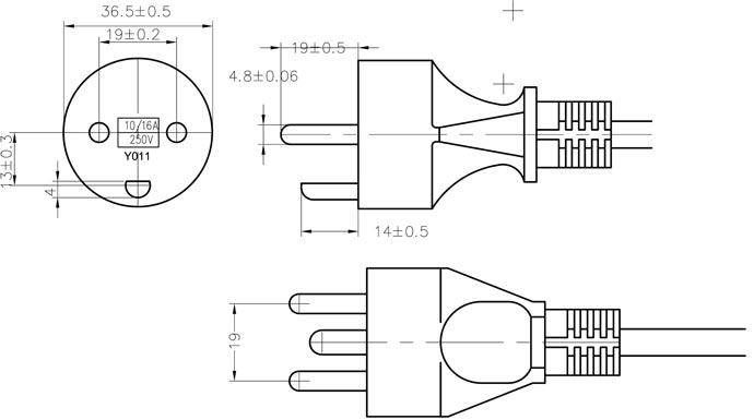 Denmark 10 Amp Dryer Power Cord 3 Prong Stripped Female