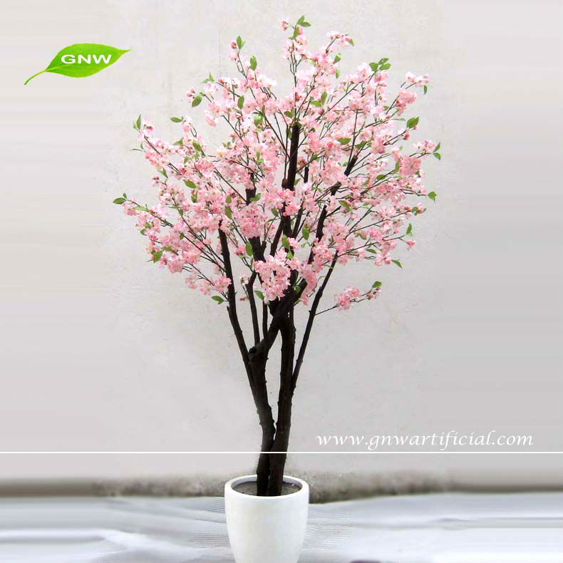 Bls031 Gnw Artificial Cherry Blossom Tree Pot Pink Flower For